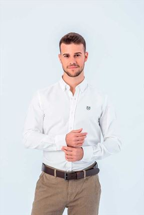 CAMISA OXFORD BLANCA REGULAR BUTTON