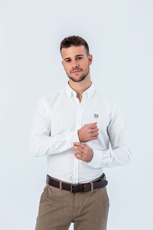 CAMISA OXFORD BLANCA SLIM BUTTON