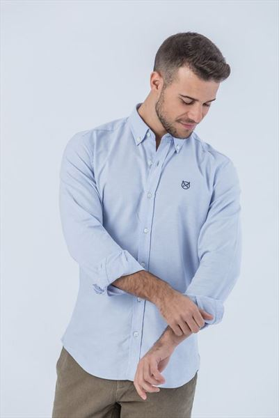 CAMISA OXFORD CELESTE SLIM BUTTON (1)
