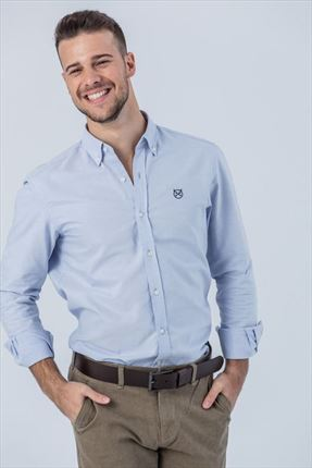 CAMISA OXFORD CELESTE SLIM BUTTON