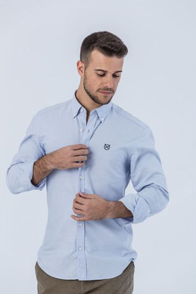 CAMISA OXFORD CELESTE SLIM BUTTON (2)