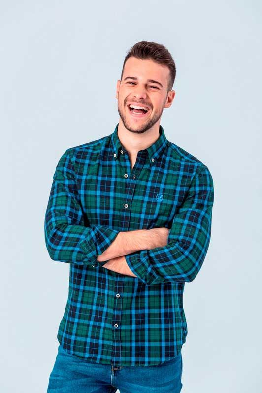 CAMISA SCOTLAND GREEN SLIM BUTTON