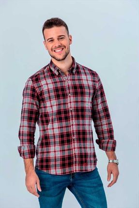 CAMISA SCOTLAND RED SLIM BUTTON